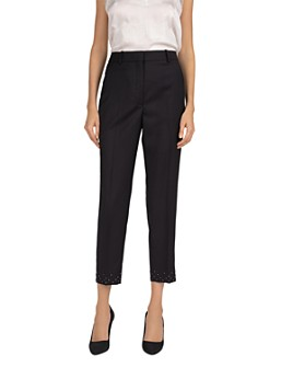 The Kooples - Cropped Studded-Hem Wool-Stretch Pants