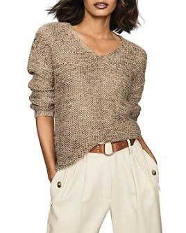 REISS - Jasmine Chunky Metallic V-Neck Sweater