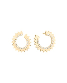 Nouvel Heritage - 18K Yellow Gold Vendome Lace Diamond Front-Back Earrings