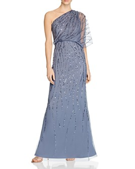 Adrianna Papell - Beaded One-Shoulder Gown