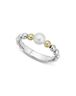 LAGOS - Sterling Silver & 18K Yellow Gold Luna Cultured Freshwater Pearl Ring