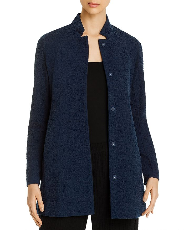 Eileen Fisher Petites - Long Stand-Collar Textured Jacket