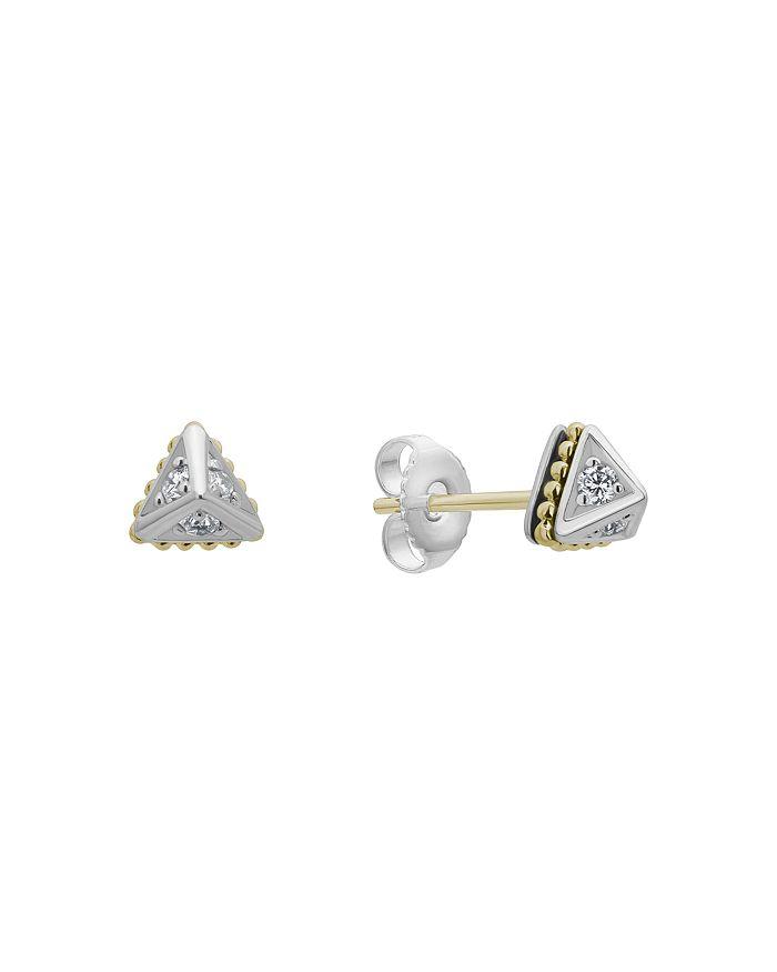 LAGOS - 18K Yellow Gold & Sterling Silver KSL Diamond Stud Earrings