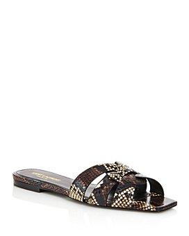 Saint Laurent - Women's Nu Pieds Square-Toe Snakeskin Sandals
