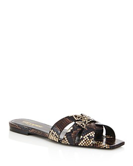 Saint Laurent - Women's Nu Pieds Square-Toe Snakeskin Sandals