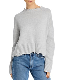 Helmut Lang - Distressed Open-Back Wool & Cashmere Sweatshirt