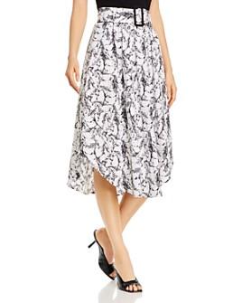 T Tahari - Belted Horse-Print Skirt