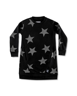 NUNUNU -  Girls' Star Print Sweatshirt Dress - Little Kid, Big Kid