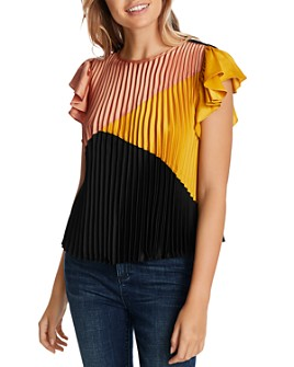 1.STATE - Pleated Color-Block Top