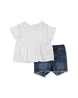 7 For All Mankind - Girls' Ruffle Top & Denim Shorts Set - Baby