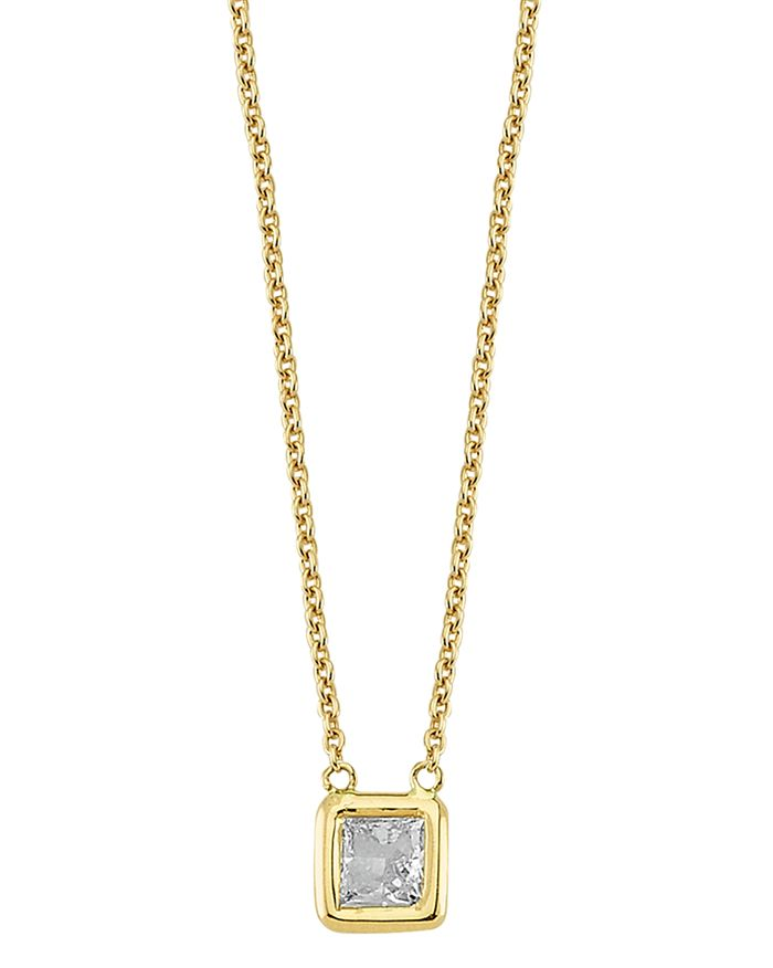 Own Your Story 14k Yellow Gold Geometry Princess Diamond Pendant Necklace In White/gold