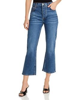 AQUA - High-Rise Crop Flare Jeans in Medium Blue - 100% Exclusive