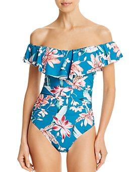 La Blanca - Printed Ruffled Off-The-Shoulder One Piece Swimsuit