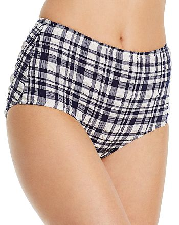Solid & Striped - The Ginger Puckered Plaid High-Waist Bikini Bottom