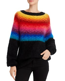 Rose Carmine - Rainbow-Colorblocked Sweater