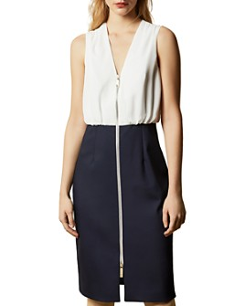 Ted Baker - Annise Zip-Front Color-Blocked Sheath Dress