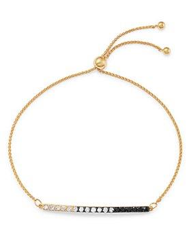 Bloomingdale's - Black & White Diamond Bar Bolo Bracelet in 14K Yellow Gold - 100% Exclusive