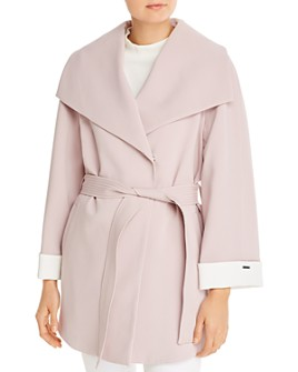 T Tahari - Riley Crepe Draped Coat