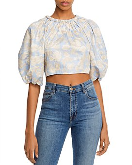 Rebecca Taylor - Floral Print Bow-Back Cropped Top