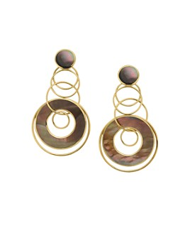 IPPOLITA - 18K Yellow Gold Polished Rock Candy Brown Shell Circle Drop Earrings