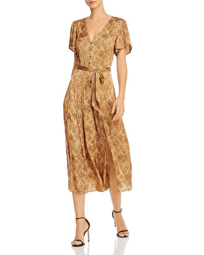 PAIGE - Alayna Snakeskin-Print Belted Dress
