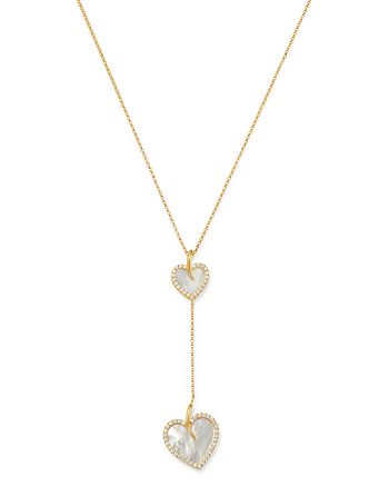 Roberto Coin - 18K Yellow Gold Mother-of-Pearl & Diamond Two Heart Y Necklace - 100% Exclusive
