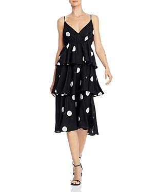 O.p.t Cava Tiered Polka-Dot Midi Dress