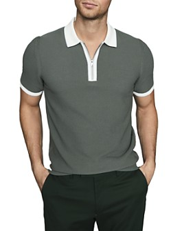 REISS - Tobago Cotton Textured Tipped Zip Polo