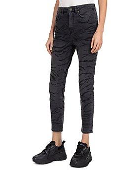 The Kooples - Zebra-Print Slim Jeans in Black