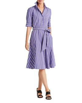 Ralph Lauren - Striped Fit & Flare Shirtdress Dress