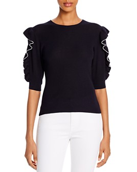 FRAME - Ruffled Elbow-Sleeve Sweater