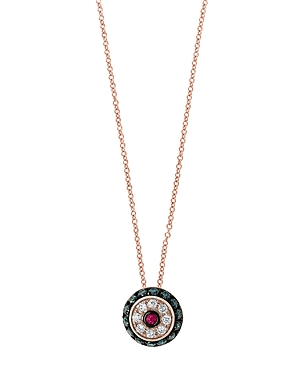 Bloomingdale's Ruby & Blue & White Diamond Halo Pendant Necklace in 14K Rose Gold - 100% Exclusive