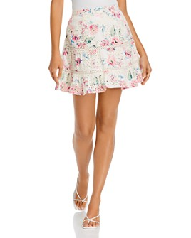 AQUA - Printed Eyelet Mini Skirt