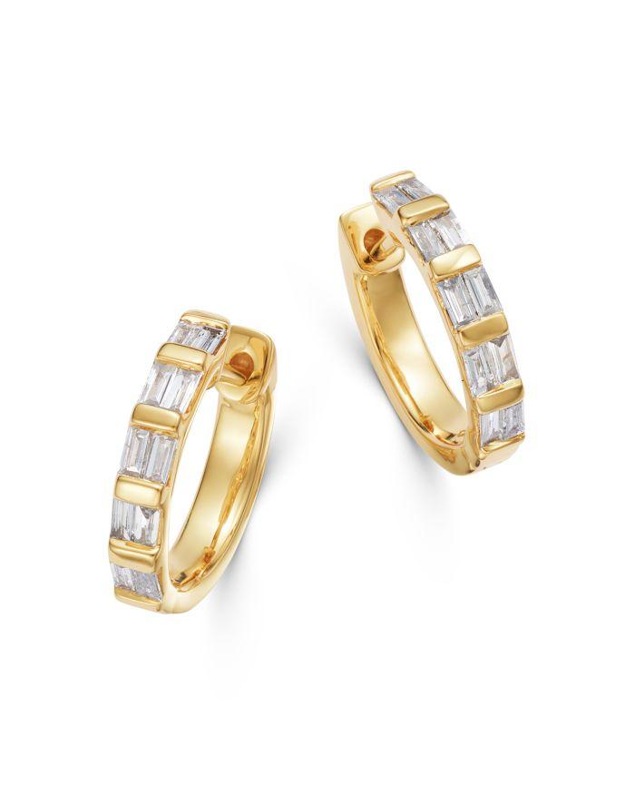 Bloomingdale's Diamond Baguette Huggie Hoop Earrings in 14K Yellow Gold - 100% Exclusive    Bloomingdale's