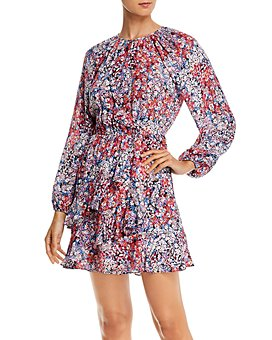 Parker - Bertie Silk Floral Print Ruffled Mini Dress