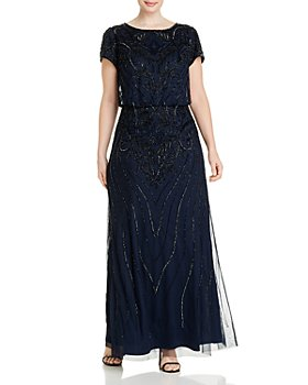Adrianna Papell Plus - Beaded Short-Sleeve Gown