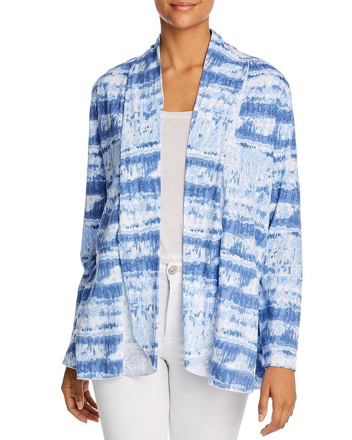 Alison Andrews Tie-dye Open-front Cardigan In Blue Varied Tie Dye