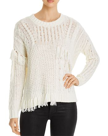 cupcakes and cashmere - Romy Cable-Knit Patchwork Sweater