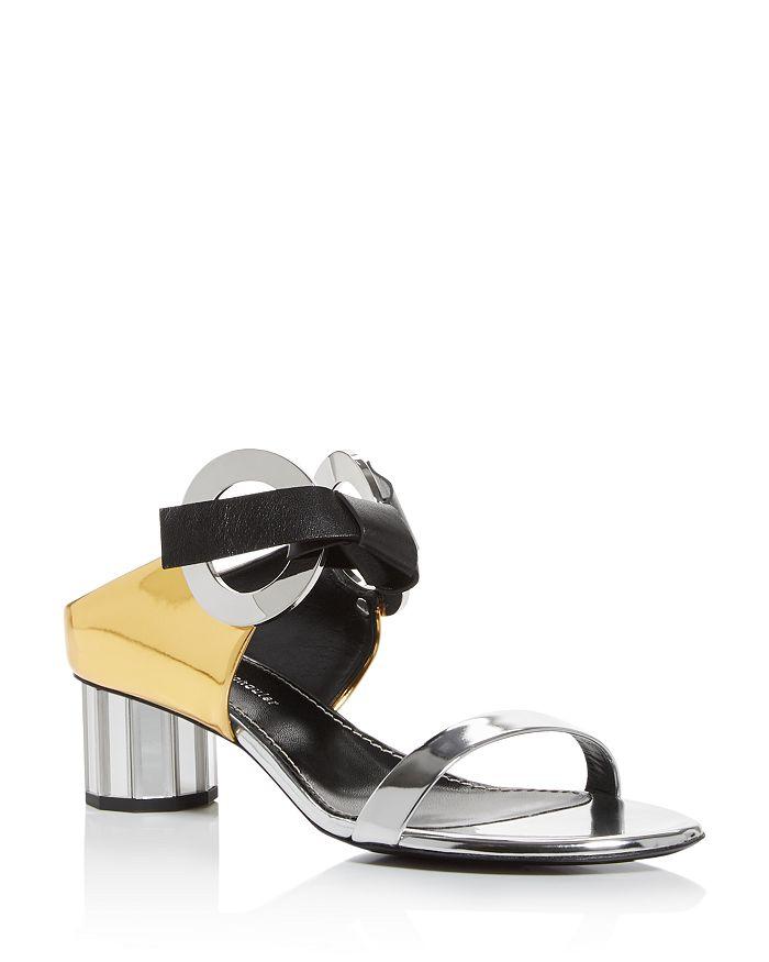 Proenza Schouler - Women's Mixed Media Mirror-Heel Sandals