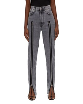 Helmut Lang - Femme Hi Spikes Cotton Zipper Detail Jeans