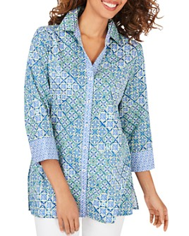 Foxcroft - Palmer Cotton Wrinkle-Free Printed Tunic