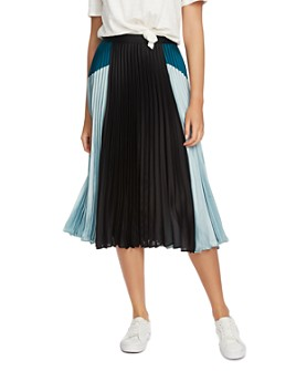 1.STATE - Pleated Color-Block Skirt
