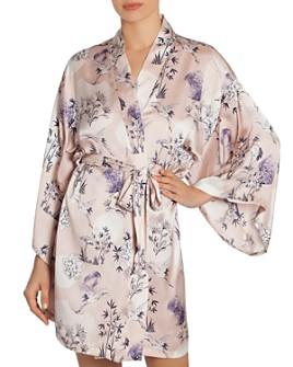Midnight Bakery - Floral Print Satin Wrap Robe
