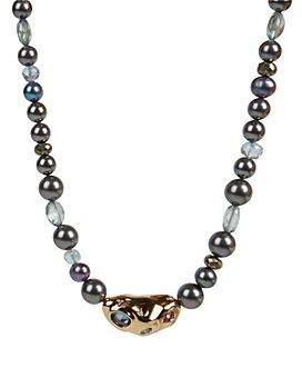"Alexis Bittar - Stone Studded Crumpled Beaded Single Strand Necklace, 16"""