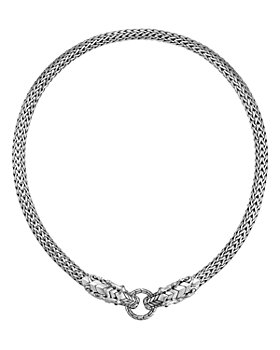 """JOHN HARDY - Sterling Silver Legends Naga Blue Sapphire Double Dragon 18"""" Collar Necklace"""