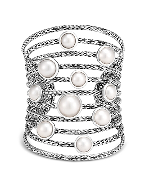 John Hardy Sterling Silver Classic Chain Mabe Cultured Freshwater Pearl Multi-Row Cuff Bracelet