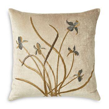 "Michael Aram - Iris Embroidered Velvet Decorative Pillow, 18"" x 18"""