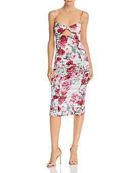 For Love & Lemons - Robin Floral Print Cutout Midi Dress