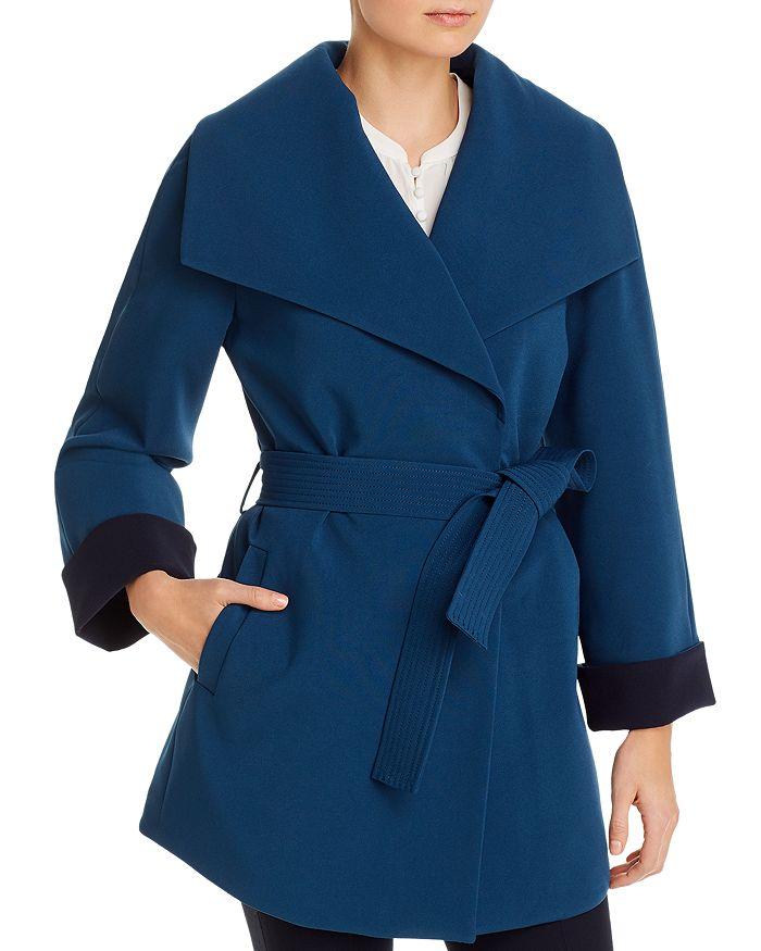 T Tahari - Riley Crepe Draped Coat