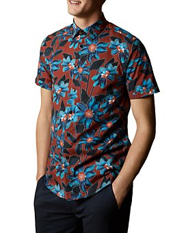 Ted Baker - Floral-Print Short-Sleeve Slim Fit Button-Down Shirt